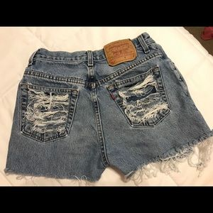 Levi's Shorts - Levi's 517 relaxed fit hand distressed shorts.